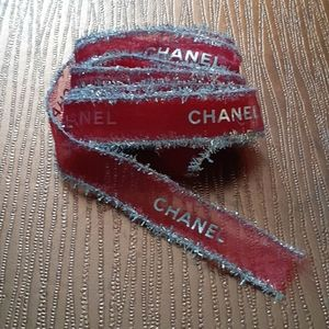CHANEL RED AND SILVER RIBBON (10 FEET) 120 inches